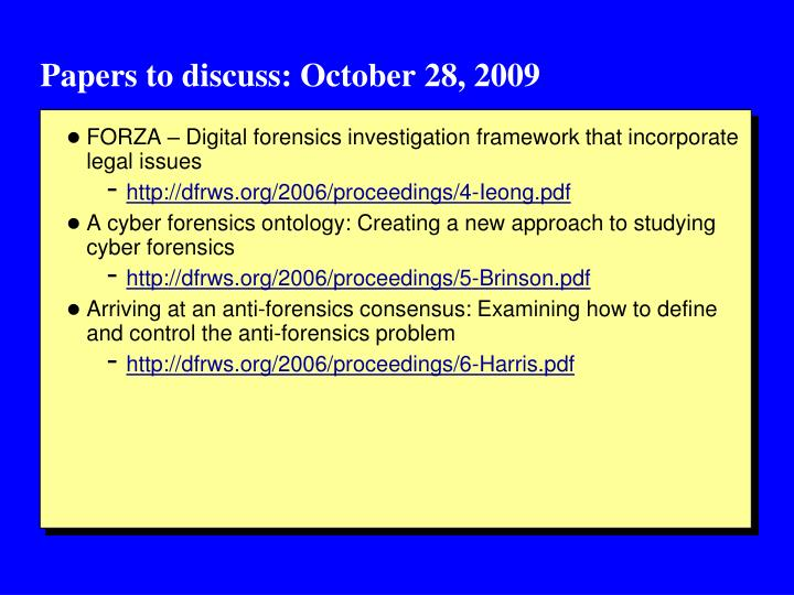 Papers to discuss: October 28, 2009