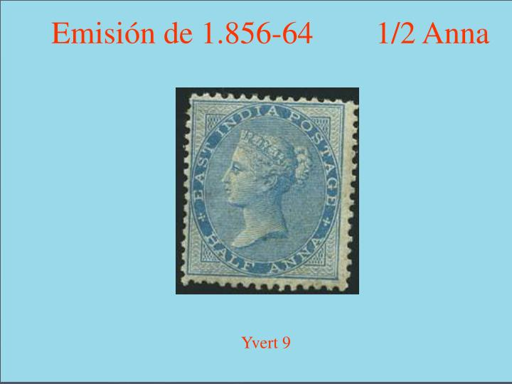 Emisión de 1.856-64        1/2 Anna