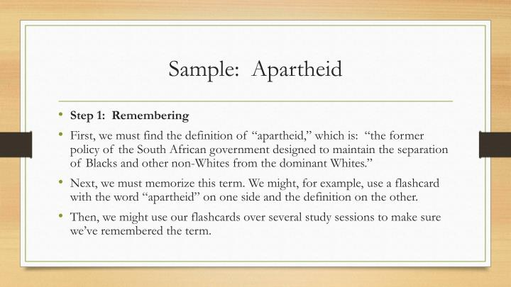 Sample:  Apartheid