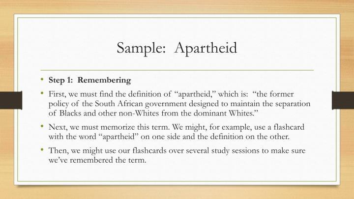 Sample:  Apartheid