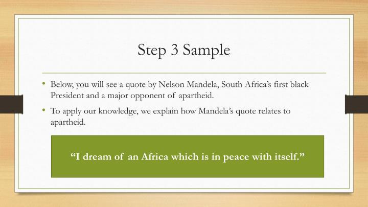 Step 3 Sample
