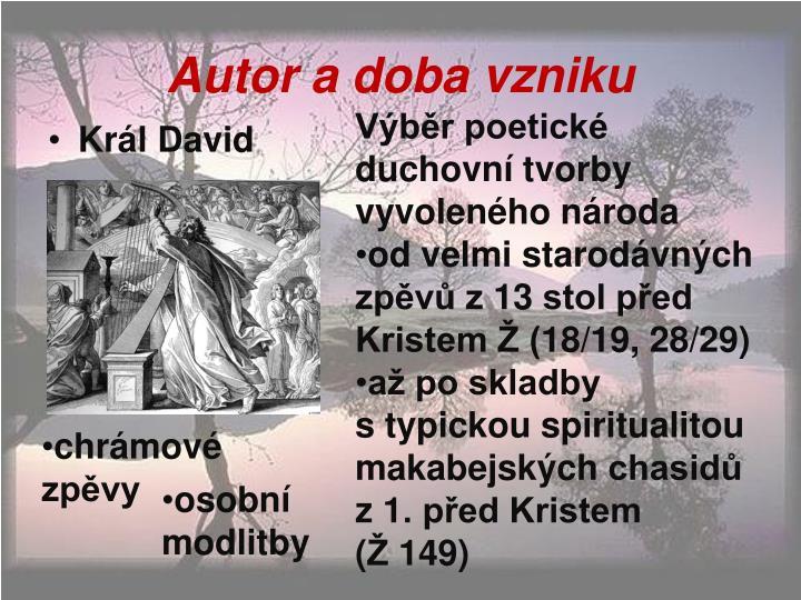 Autor a doba vzniku