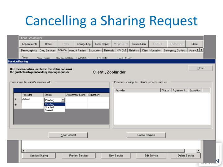 Cancelling a Sharing Request
