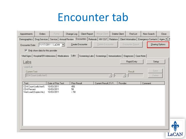 Encounter tab