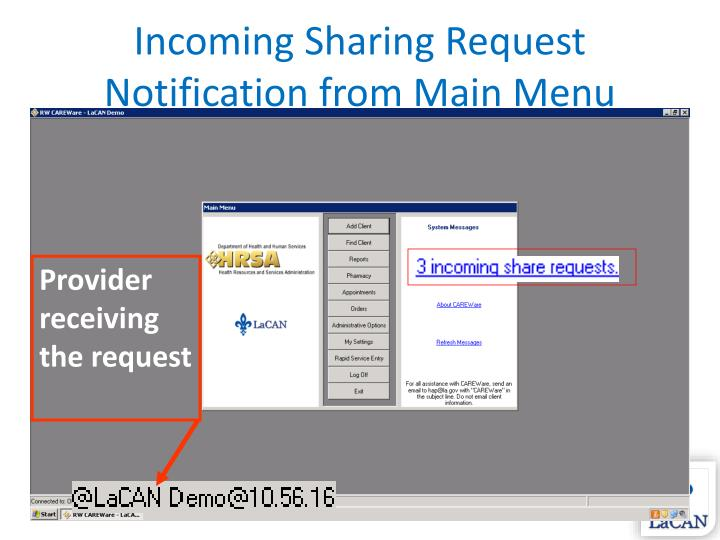 Incoming Sharing Request Notification from Main Menu