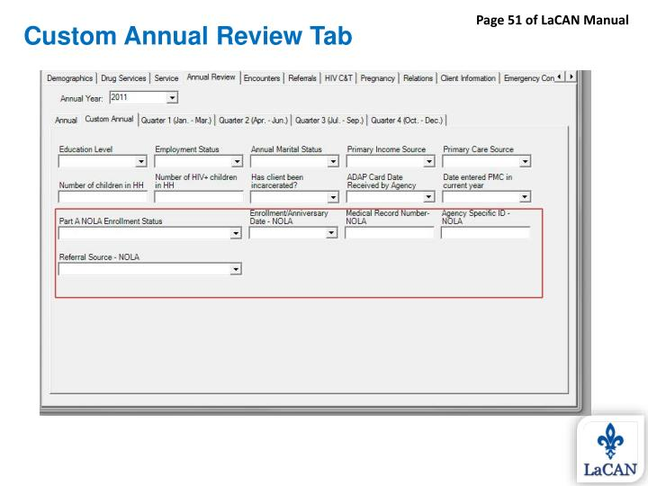 Custom Annual Review Tab