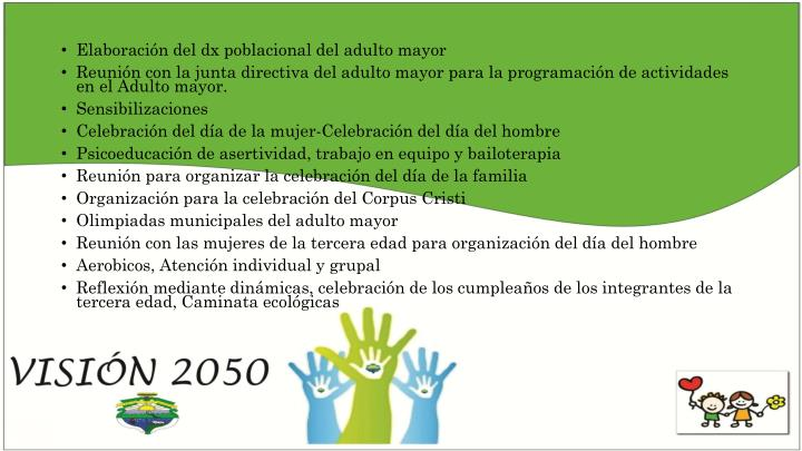 Elaboración del dx poblacional del adulto mayor