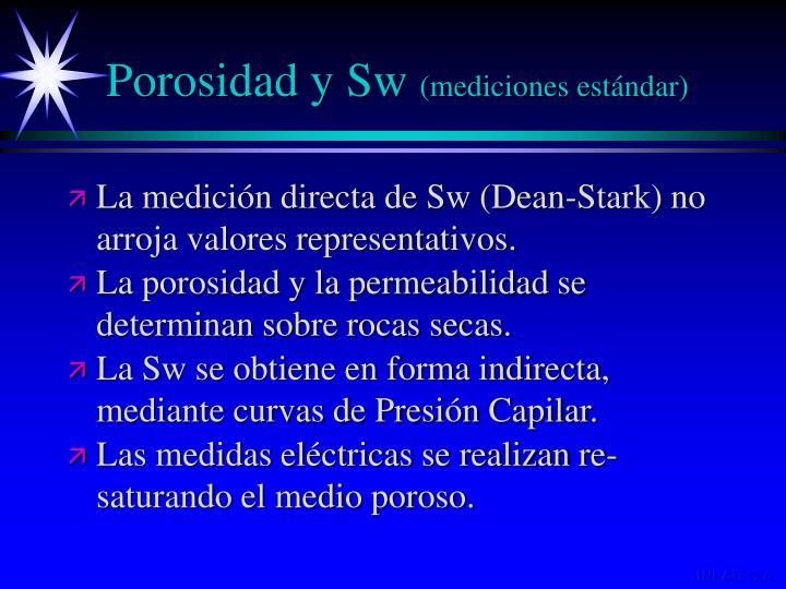 Porosidad y Sw
