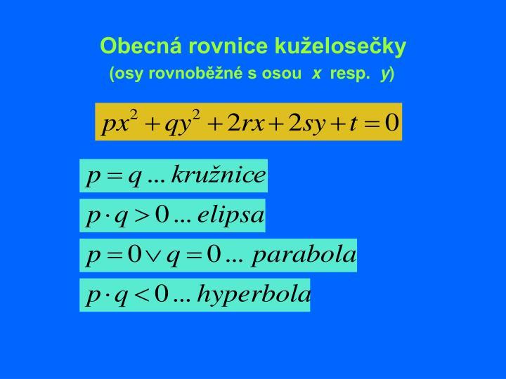 Obecná rovnice kuželosečky