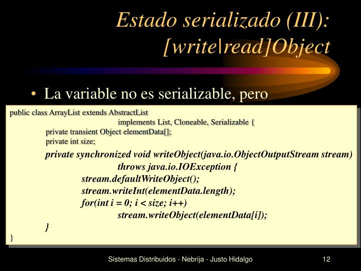 Estado serializado (III): [write|read]Object