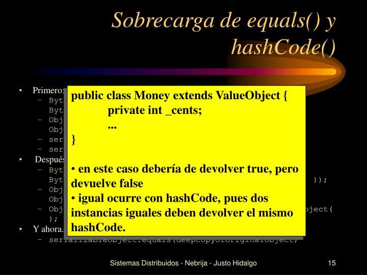 Sobrecarga de equals() y hashCode()