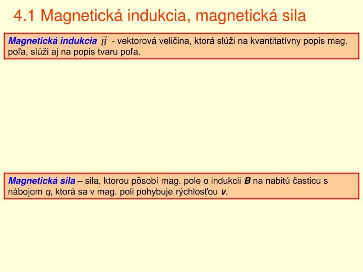4.1 Magnetická indukcia, magnetická sila