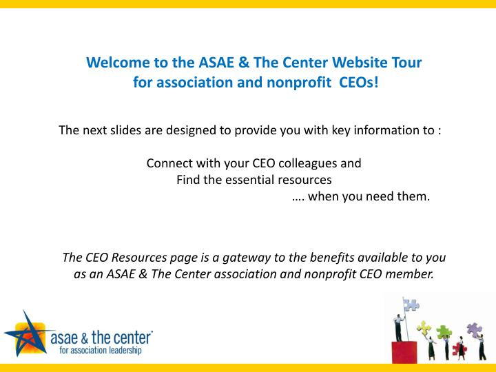 Welcome to the ASAE & The Center Website Tour
