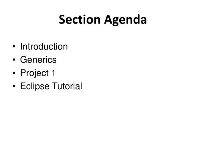Section agenda
