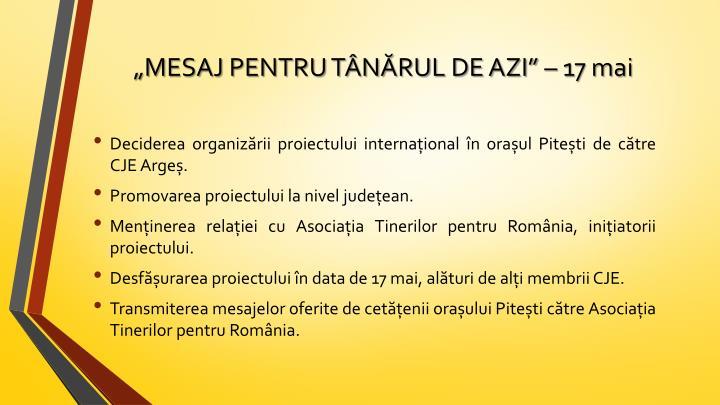 """""""MESAJ PENTRU TÂNĂRUL DE AZI"""" – 17 mai"""