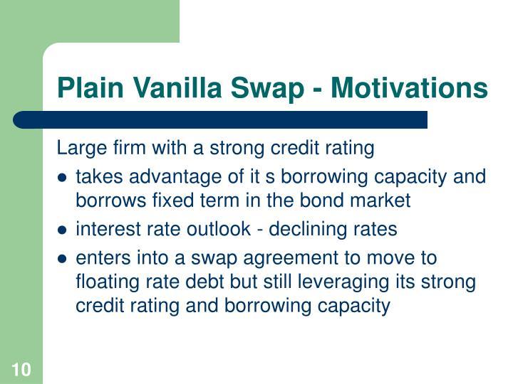 Plain Vanilla Swap - Motivations