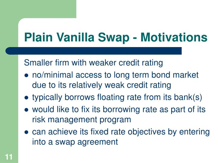 Plain Vanilla Swap - Motivations