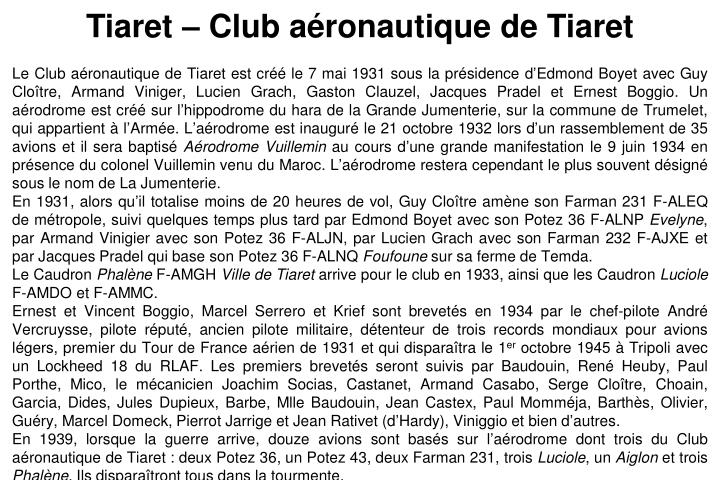 Tiaret – Club aéronautique de Tiaret
