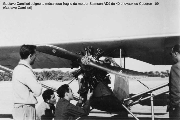 Gustave Camilieri soigne la mécanique fragile du moteur Salmson AD9 de 40 chevaux du Caudron 109