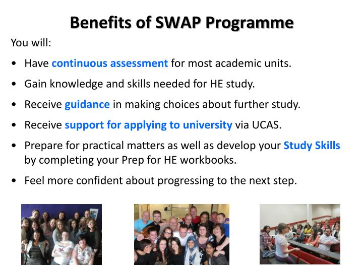 Benefits of SWAP Programme