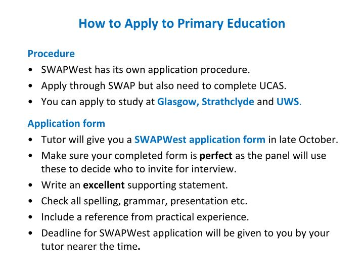 How to Apply to Primary Education