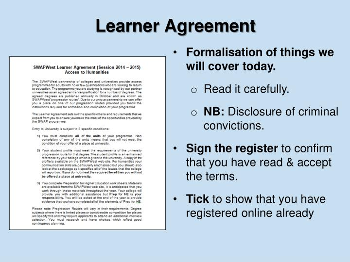Learner Agreement
