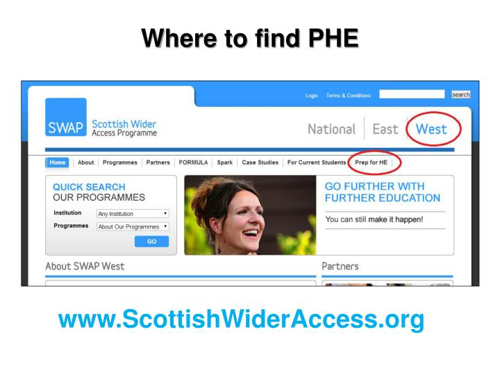 Where to find PHE
