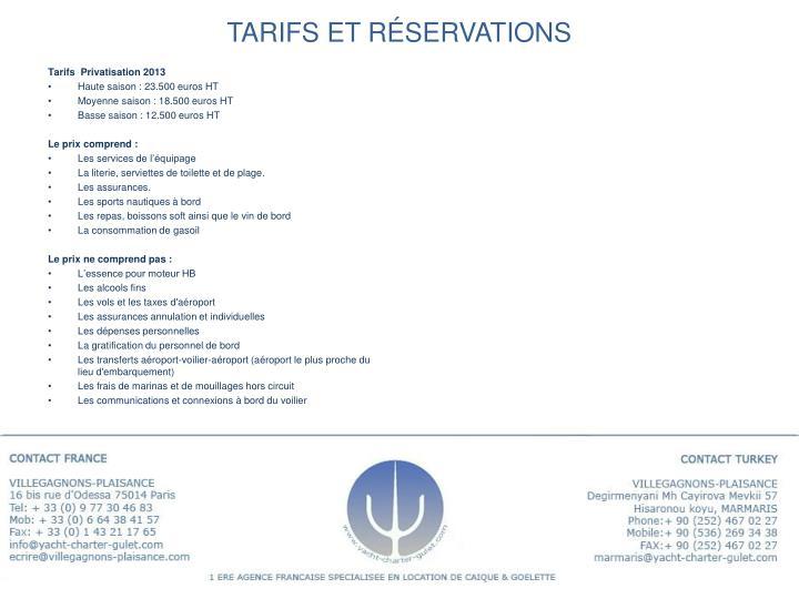 Tarifs et réservations