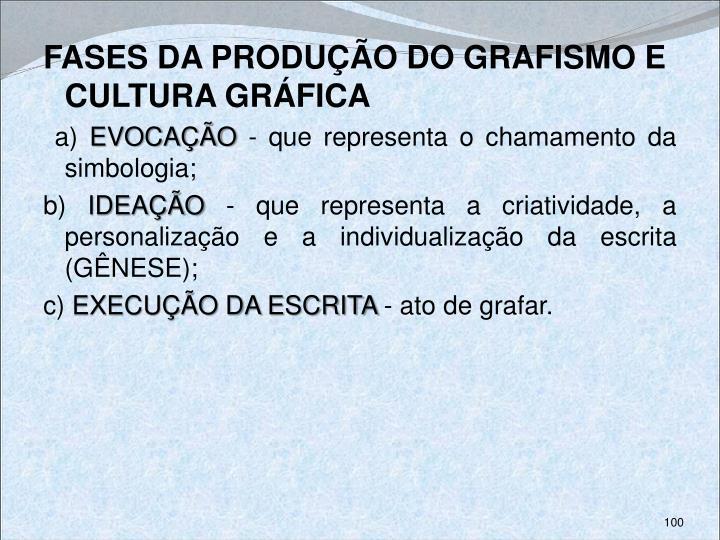 FASES DA PRODUÇÃO DO GRAFISMO E CULTURA GRÁFICA