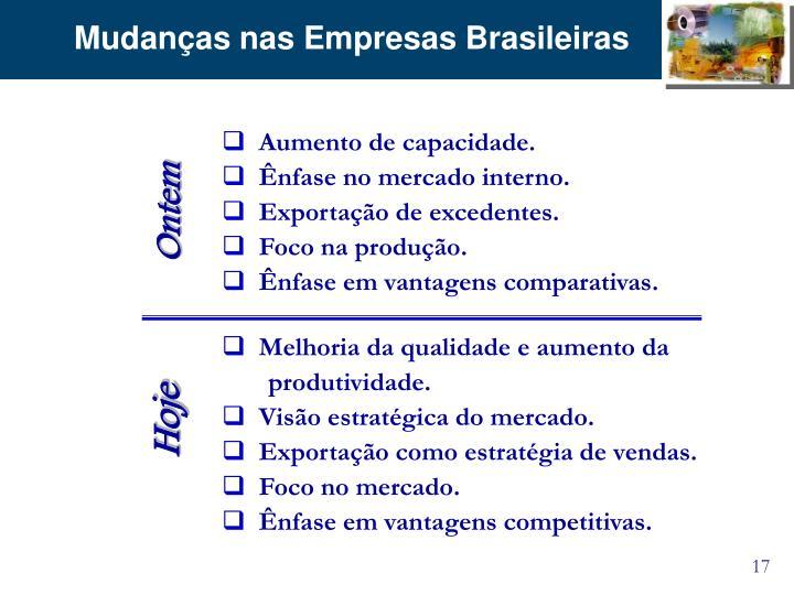 Mudanças nas Empresas Brasileiras