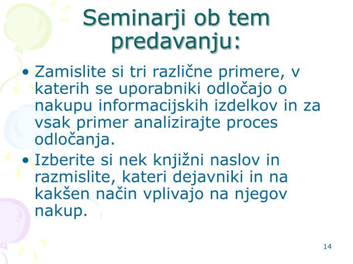 Seminarji ob tem predavanju:
