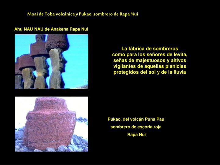 Moai de Toba volcánica y Pukao, sombrero de Rapa Nui