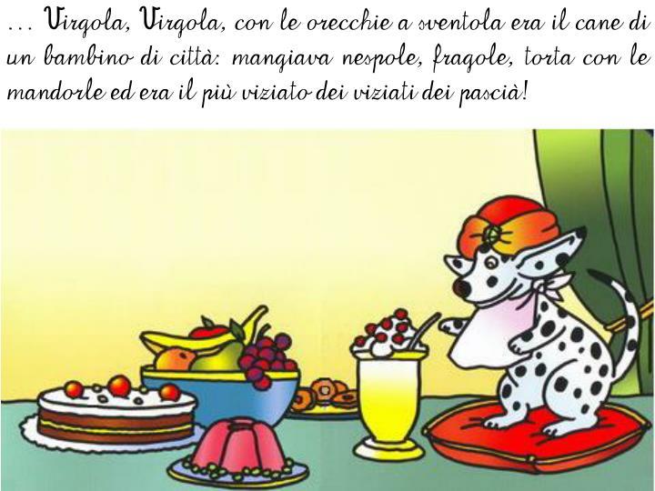 … Virgola, Virgola, con le orecchie a sventola era il cane di un bambino di città: mangiava nespole, fragole, torta con le mandorle ed era il più viziato dei viziati dei pascià!