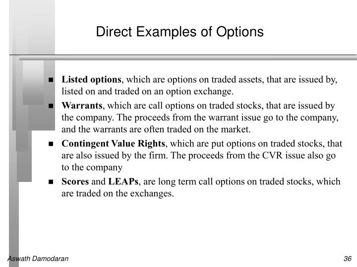 Direct Examples of Options