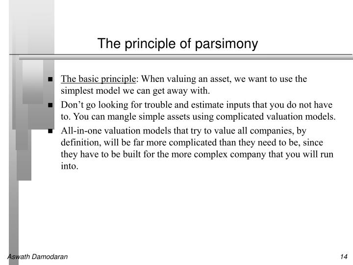 The principle of parsimony