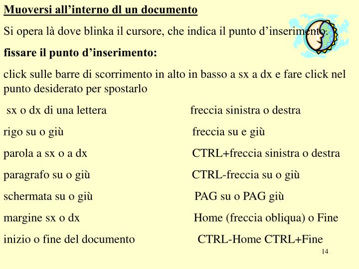 Muoversi all'interno dl un documento