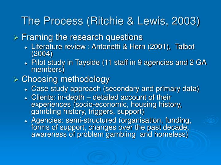 The Process (Ritchie & Lewis, 2003)
