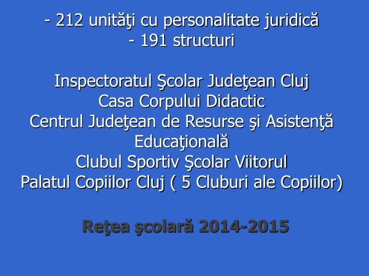 - 212 unităţi cu personalitate juridică