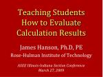 teaching students how to evaluate calculation results