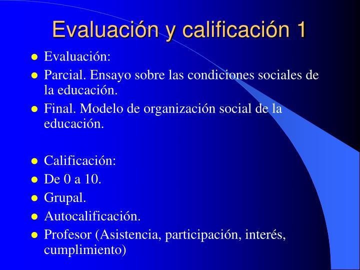 Evaluación y calificación 1