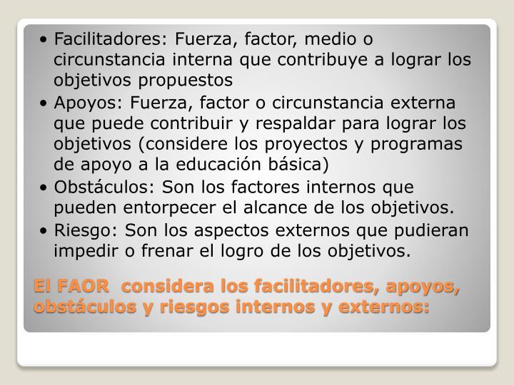 • Facilitadores: Fuerza, factor, medio o circunstancia interna que contribuye a lograr los objetivos propuestos