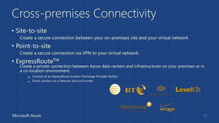 Cross-premises Connectivity