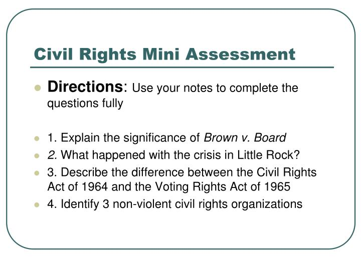 Civil Rights Mini Assessment