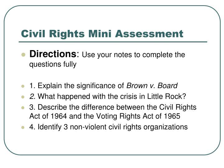 Civil Rights Mini Assessment