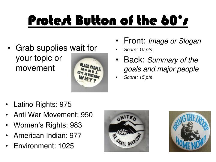 Protest Button of the 60's