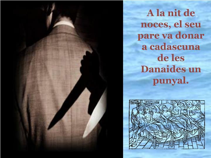 A la nit de noces, el seu pare va donar a cadascuna  de les Danaides un punyal.