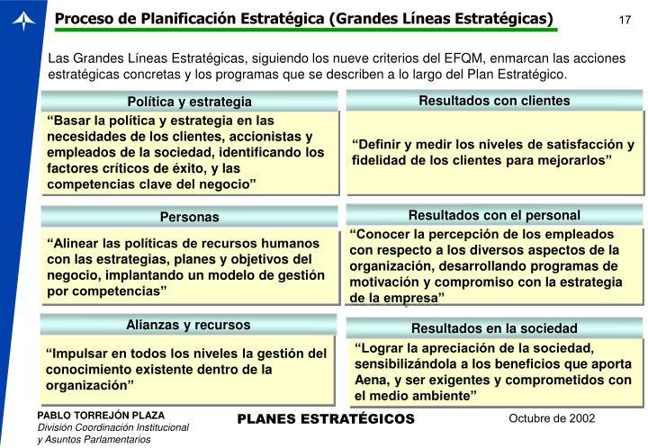 Proceso de Planificación Estratégica (Grandes Líneas Estratégicas)