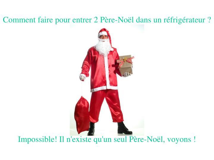 Comment faire pour entrer 2 Père-Noël dans un réfrigérateur ?