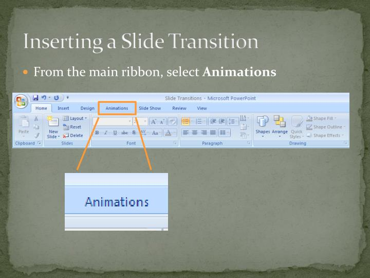 Inserting a Slide Transition