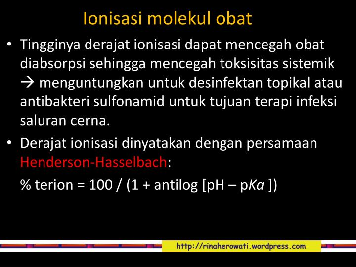 Ionisasi molekul obat